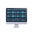 sound monitor audio waves oscillating blue light vector image vector image