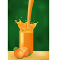splash of apricot juice on green background vector image