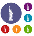 statue of liberty icons set vector image vector image