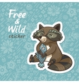 Stickers with a cute raccoon vector image vector image