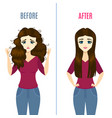 straightening hair concept banner card with girl vector image