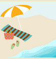 summer card design with parasol bag towel vector image