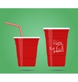 two red party cups vector image