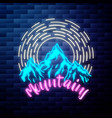 vintage mounitains emblem glowing neon sign vector image vector image