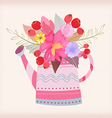 watering can with a bouquet of watercolor flowers vector image vector image