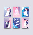 wedding cards with cartoon characters couples vector image vector image
