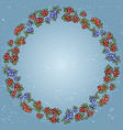 winter red and blue berries colorful wreath vector image vector image