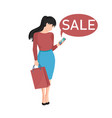 woman shopping in a store on phone vector image vector image