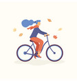 young women riding a bicycle in park falling vector image vector image