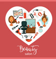 beauty salon promotional poster with equipment for vector image
