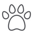 animal footprint line icon pet and trace paw vector image vector image