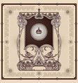 antique border frame engraving vector image vector image
