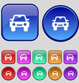 Auto icon sign A set of twelve vintage buttons for vector image