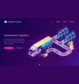 automated logistics isometric landing page banner vector image