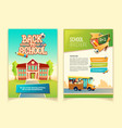 back to school brochure cartoon template vector image vector image
