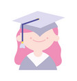 back to school education graduate girl with hat vector image