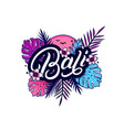 bali hand written lettering with palm vector image vector image