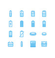 battery flat line icons batteries vector image