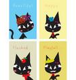 black cat happy pattern vector image vector image