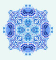 blue decorative floral ethnic vector image