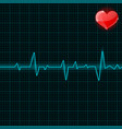 blue electrocardiogram with red heart symbol vector image