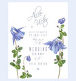blue flower invitation card vector image vector image