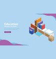 book education style banner with isometric models vector image vector image