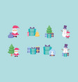 bundle christmas with icons set vector image vector image