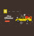 car with gift present boxes postcard merry vector image vector image