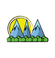 cartoon alps landscape vector image vector image