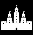 castle icon on black vector image vector image
