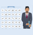 communication thin line icons businessman vector image vector image