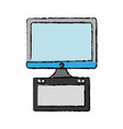 computer with graphic tablet icon vector image vector image