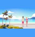 couple man woman sunrise tropical palm beach vector image vector image