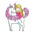 cute hand drawn unicorn with little princess vector image vector image