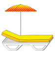 deck chair under an umbrella on sandy beach vector image vector image