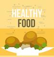 delicious chicken pieces and salad healthy food vector image vector image