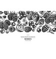 design with black and white strawberry blueberry vector image