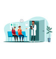 doctor inviting patient at medicine dental clinic vector image vector image