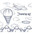 doodle air trip concept vector image vector image