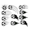 drawing flying soccer and football balls vector image vector image