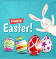 easter eggs and white bunny vector image vector image