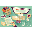 Flat design objects work desk long shadow office vector image vector image