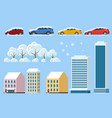 flat isolated winter icons snowy car snowdrift vector image
