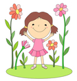 girl and flowers 1 vector image