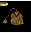 Gold glitter icon of tea bag isolated on vector image