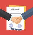 handshake of business people on the background of vector image vector image