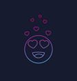 happy emoji with hearts as eyes line vector image