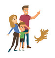 happy family walk isolated flat concept vector image