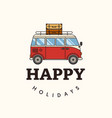 happy holiday on beach flat design vector image vector image